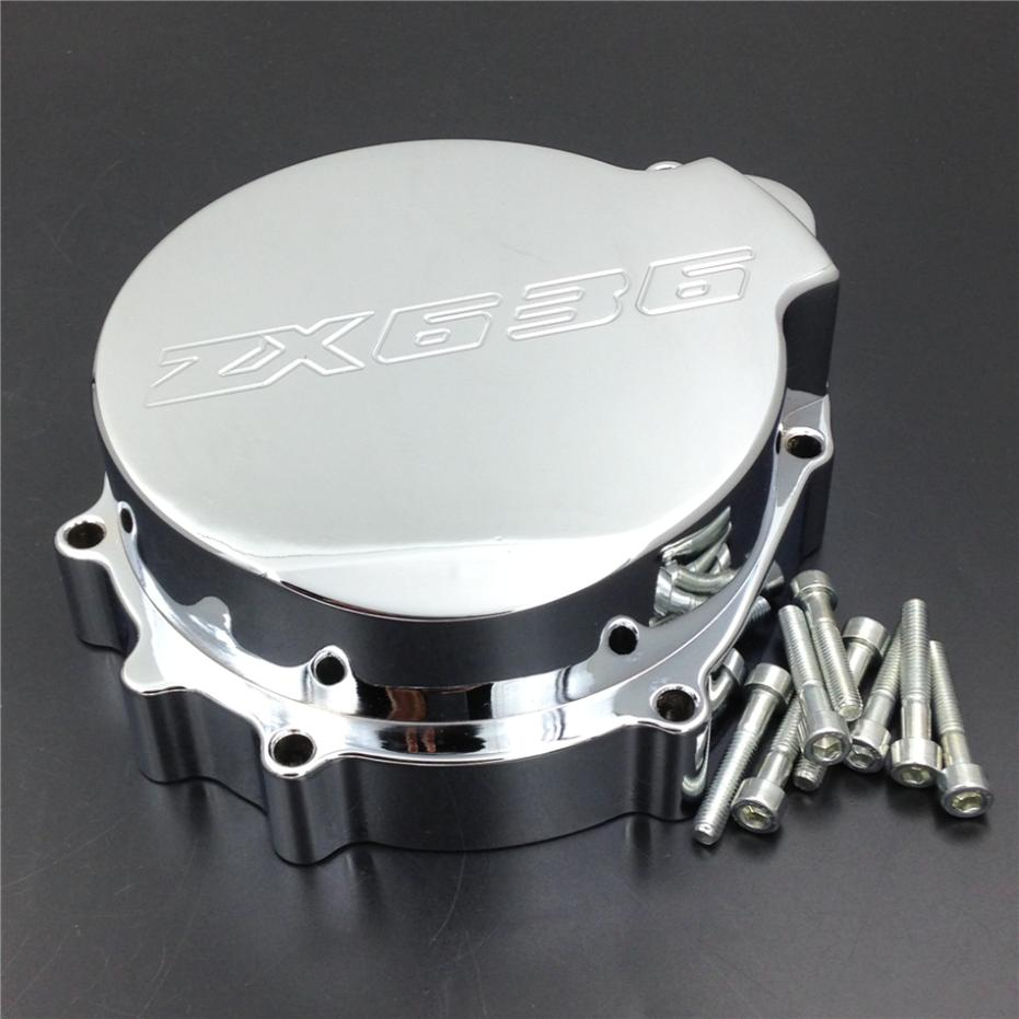 For Motorcycle Kawasaki ZX6R 636 2003-2004 Engine Stator cover CHROME left side motorcycle stator engine cover left magneto cover for kawasaki zx 9r 1998 99 00 01 02 2003 year
