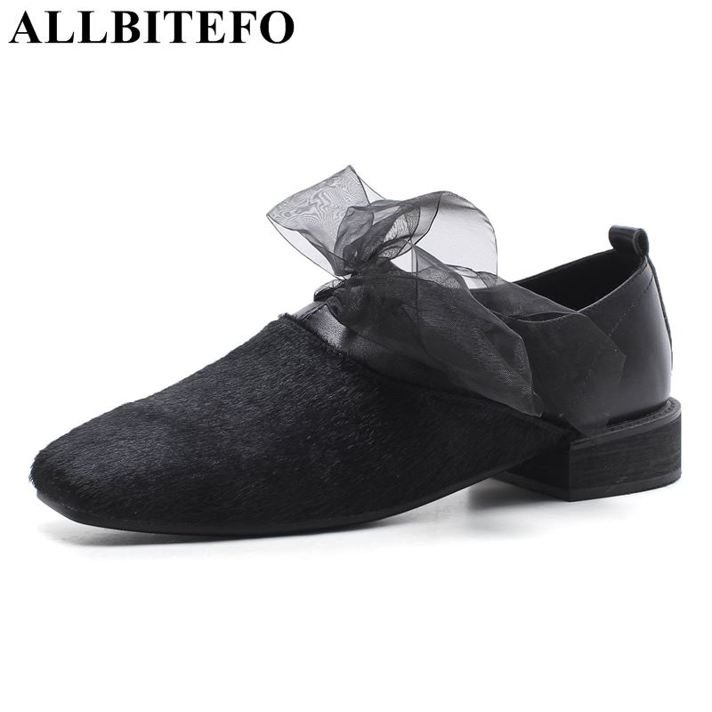 3a97f690f1d ALLBITEFO size 33-43 genuine leather+Horse hair square toe thick heel women  pumps spring women high heel shoes girls shoes