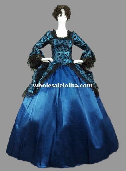 Винтажная Marie Antoinette Голубая цветочная викторианская эпоха бальное платье театральная одежда - Цвет: deep blue