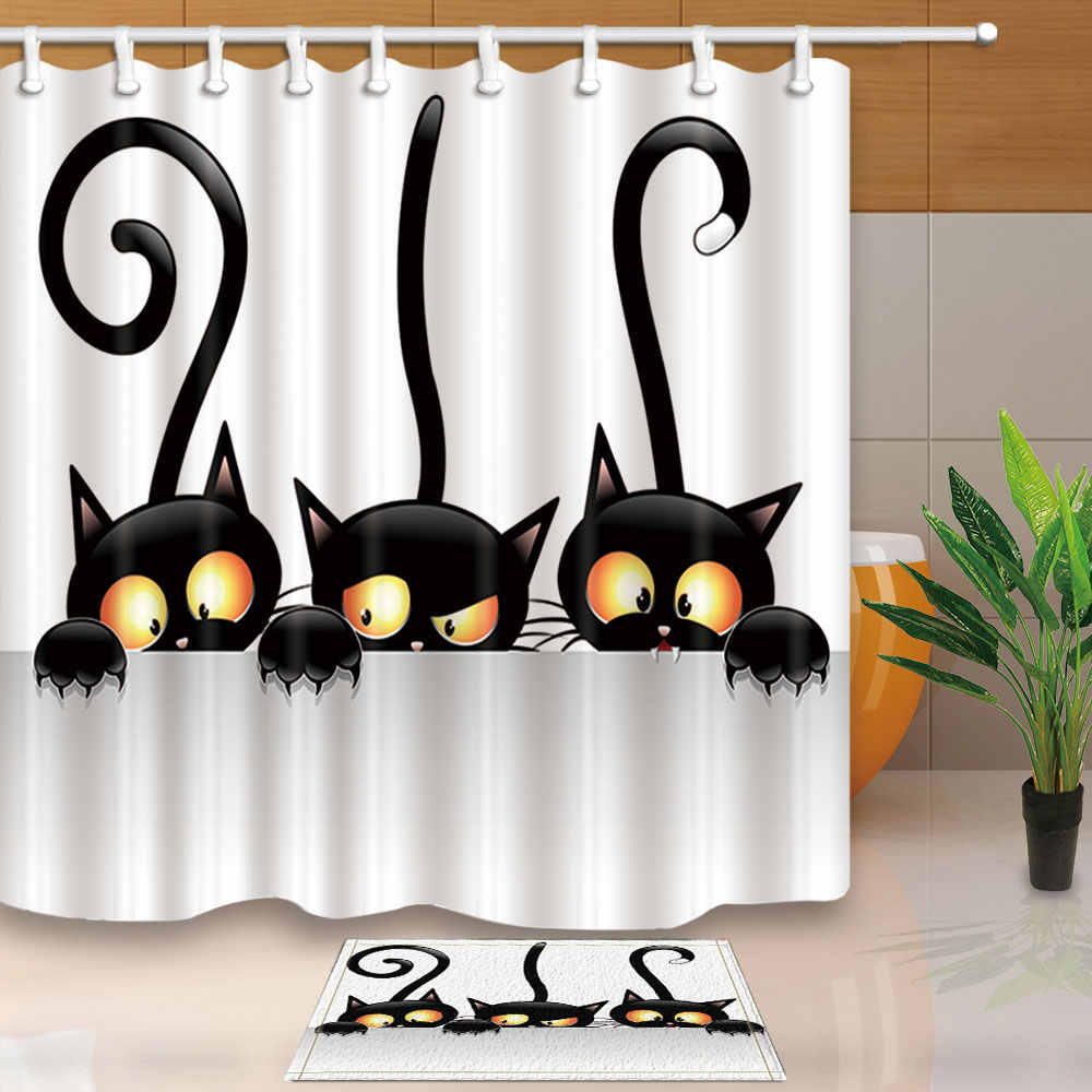Funny Cats Shower Curtains High Quality Bath Screens Home Decor Polyester Fabric Waterproof and Mildew Proof with Hooks Washable