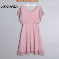 4 Color S 2XL Elegant Dresses For Women V Neck High Waist Slim Solid Pink Blue