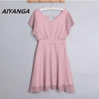 4 Kleur S-2XL elegante jurken voor vrouwen v-hals hoge taille slanke effen roze blauw paars groen dames zomer chiffon jurk
