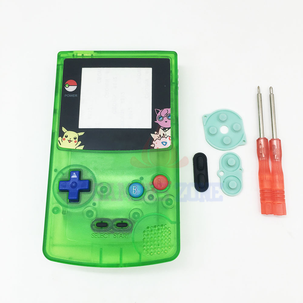 Game boy color kabel - Voor Pokemon Jigglypuff Editiin Clear Green Behuizing Shell Case Voor Nintendo Gameboy Color Gbc Behuizing Case