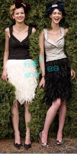 送料無料、膝の長さ酉ハックル羽スカート、完全に二層ファブリック並ぶ、8サイズ利用可能、# SKT028  グループ上の レディース衣服 からの スカート の中 3