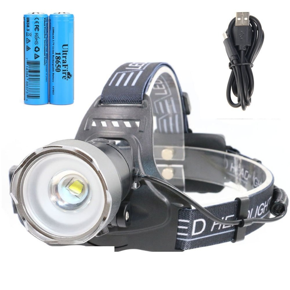 UltraFire LED Headlamp Rechargeable Zoomable With 18650 Li-ion Batteries,Light Sensitive USB Head Torch 500 Lumens CREE 2 Modes стоимость
