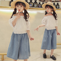 Kids Jeans For Girls 2018 Children Clothing Summer Wide Leg Denim Pant Toddler Girl Jeans New Fashion Pant Trousers 8 9 10 12 13