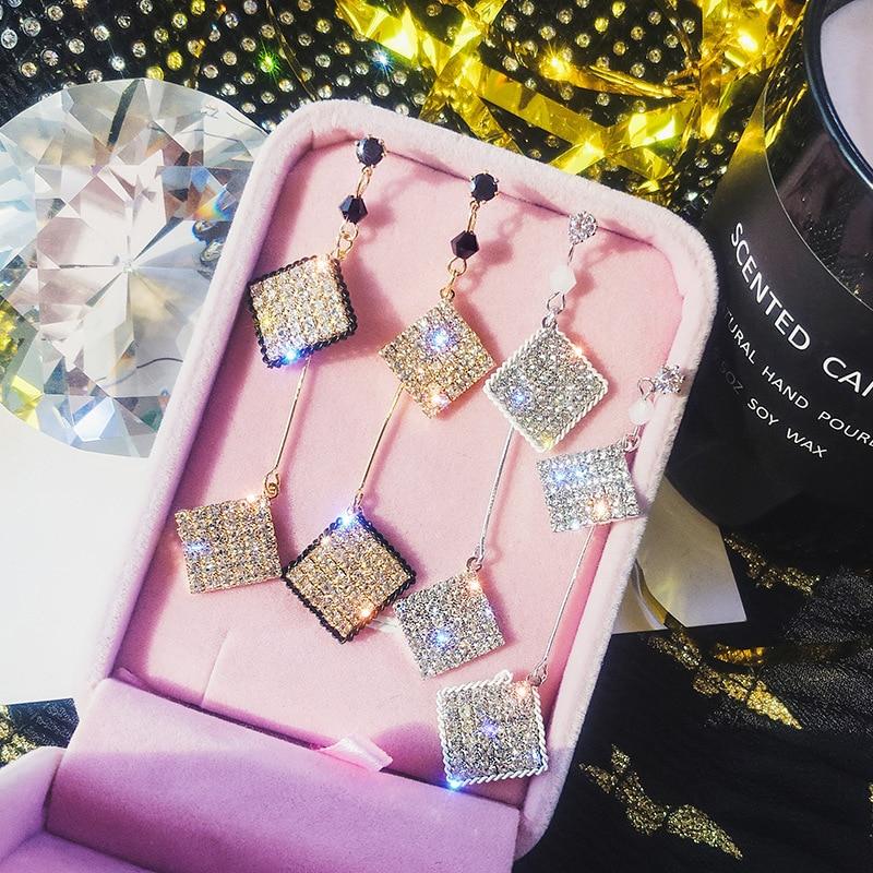 DREJEW Fashion Silver Gold Square Rhinestone Statement Earrings 2019 925 Tassel Drop Earrings for Women Wedding Jewelry HE349 in Drop Earrings from Jewelry Accessories
