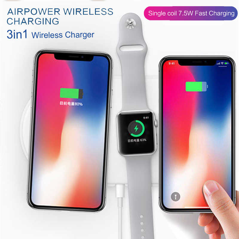new concept 6bc03 785df NEW charger For apple Watch 2 3 Airpower QI Wireless Charger For iPhone X 8  plus Galaxy S8 plus S6 S7 s9 edge Fast Charging Pad
