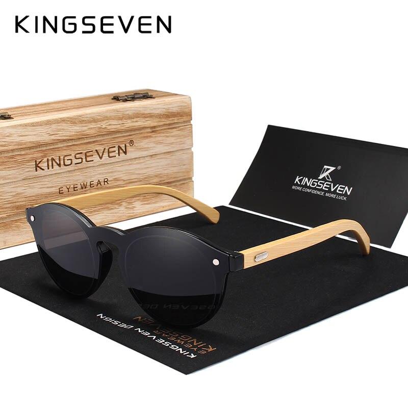 KINGSEVEN Sunglasses Men Bamboo Sun Glasses Women Brand Designer Original Wood Glasses Oculos de sol masculino 10