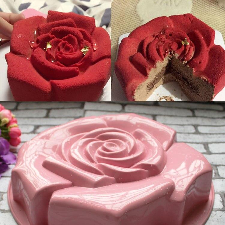 Diferente Color de Alta Calidad Rose Forma Pastel De Silicona Molde de Budín de