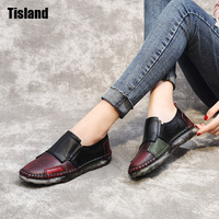 2017 Vintage Art Handmade Shoes Brand New Genuine Leather Flats Women Casual Shoes Fashion Patchwork Autumn