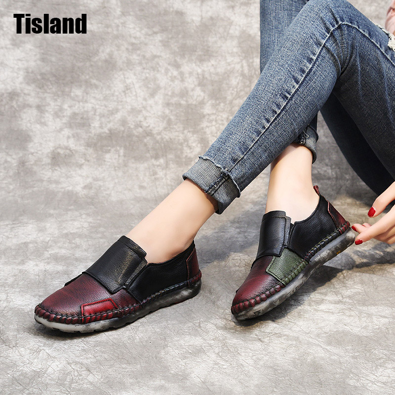 2017 Vintage Art handmade shoes Brand New Genuine Leather Flats Women Casual Shoes Fashion Patchwork Autumn Soft Mama Shoes vintage embroidery women flats chinese floral canvas embroidered shoes national old beijing cloth single dance soft flats