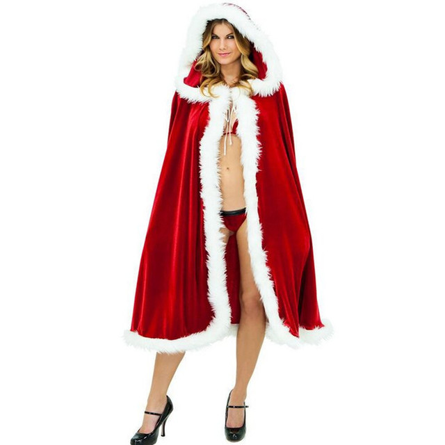 b997080028fb Christmas Cape for Women Christmas Clothing Adult Sexy Long Christmas  Costume Santa Claus Hooded Cloak Costume Free Shipping