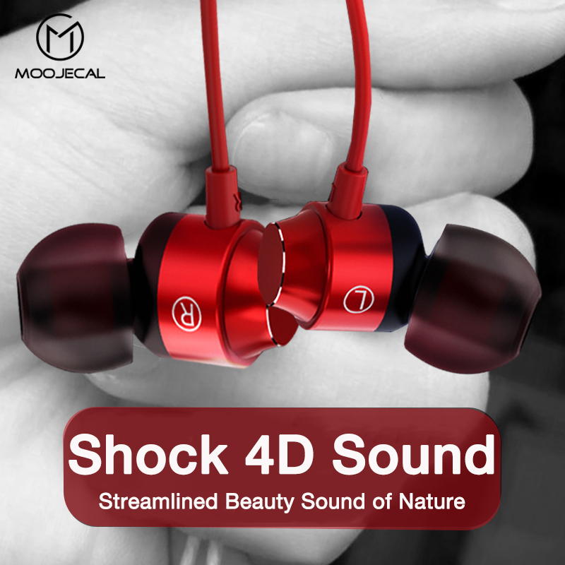 MOOJECAL Sport Stereo Wired Earphones Headphones 3.5mm With Mic In-ear Headset For IPhone 7 Xiaomi Samsung Fone De Ouvido