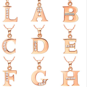 Hot Letter A B C D E F G H I J K L M N O P Q R S T U V W X Y Z Crystal Alphabet Jewelry 18 k Rose Gold Colou Pendant Necklace earrings