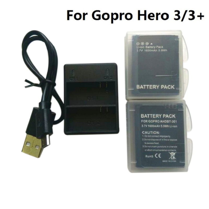 3.7V For Gopro Hero 3 Battery AHDBT-301 Hero3 Battery USB Dual Charger Battery Case For GOPRO 3+ 302 Action Camera Accessories