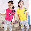 V-TREE niñas establece sistema de la ropa de chándal de verano para la muchacha adolescente arropa sistemas 2 unid/set marca sport traje de uniforme escolar de las niñas