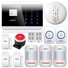 KERUI 8218G система охранной сигнализации для дома GSM PSTN с кнопкой SOS и датчиком движения детектор дыма высокая производительность CPU smart