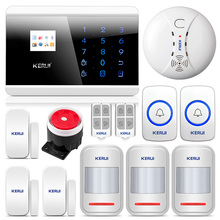 KERUI 8218G Home Alarm Security System GSM PSTN  with SOS button and Motion Smoke sensor detector high performance CPU smart