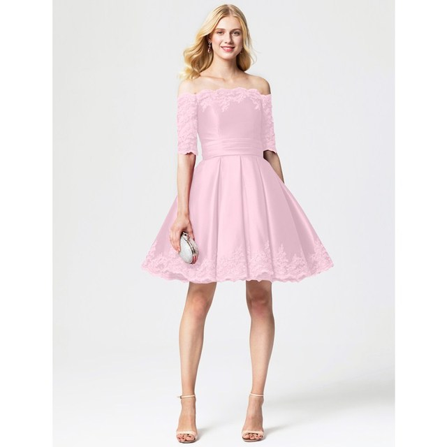 Ts Couture Princess Off The Shoulder Knee Length Lace Satin Tail Party Dress With