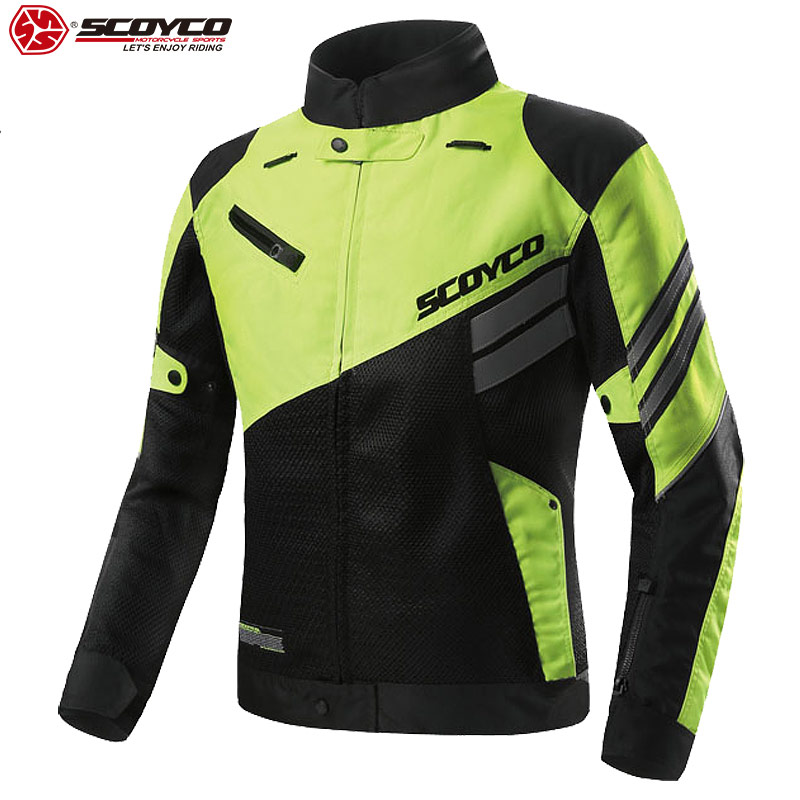 SCOYCO Mens Motorcycle Jacket Shockproof Breathable Touring Jackets for Motorcycle Scooter Reflective Motorbike Jacket Men JK36