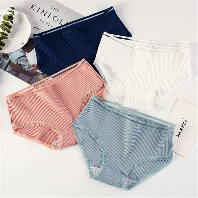 Sexy ladies   panties   striped cotton lace side girls briefs large size bag hip simple comfortable breathable underwear women