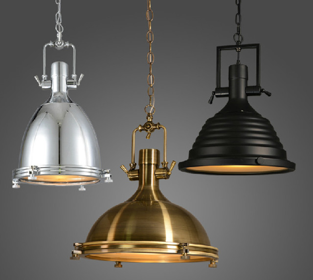 Vintage Lamp American Style E27,Copper/Chrome/Black Pendant Lamps With  Glass,
