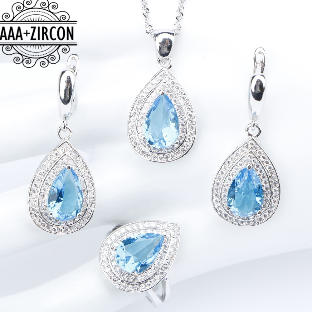 Women Sky Blue Zircon Silver 925 Costume Jewelry Sets Wedding Necklace&Pendant Earrings With Stones Rings Set Jewelery Gift Box