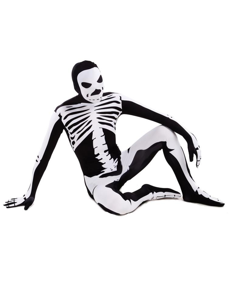 High Quality Adult/Children Halloween Skull Costumes Mens White/Black Human Skeleton Lycra Spandex Zentai Costume Full Body Suit