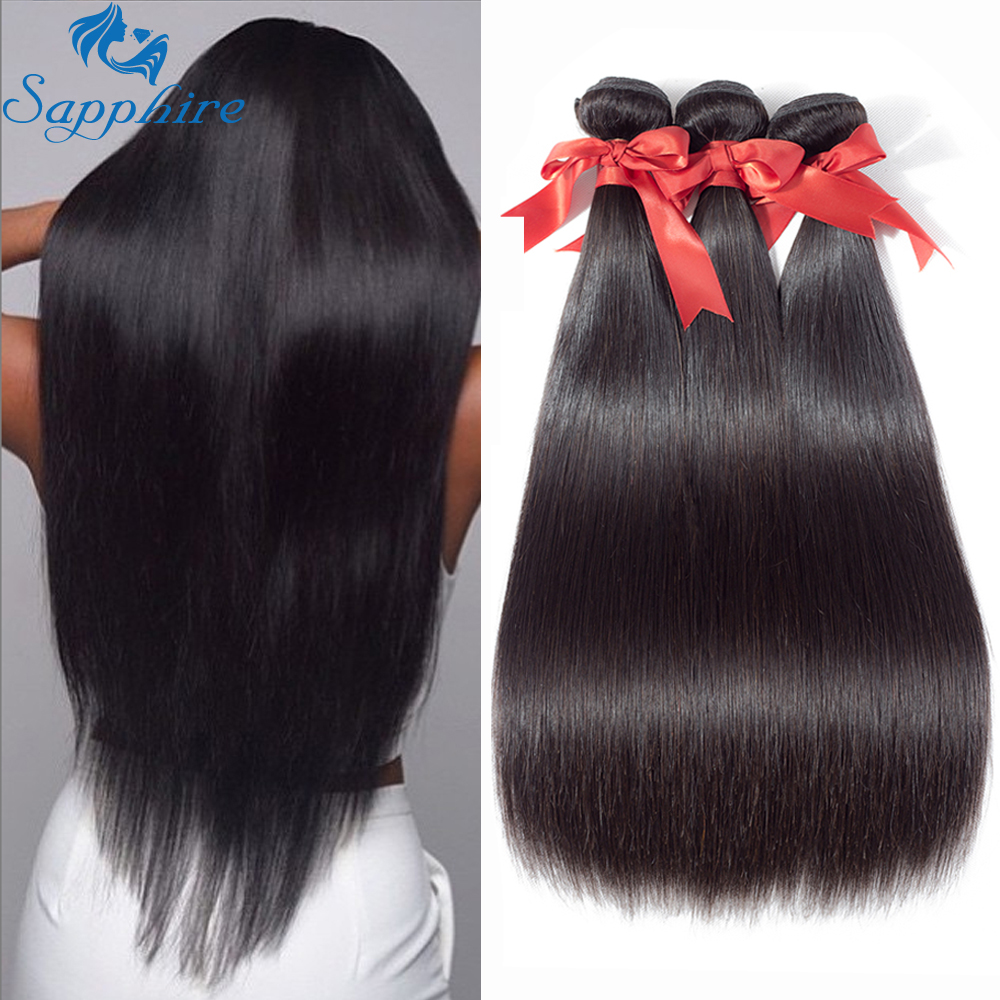 Sapphire Brazilian Straight Human Hair Bundles 100% Remy Hair Weave Bundles 3 Bundle Deals Human Hair Extensions Natural Color