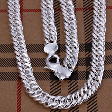 LJ&OMR Link Chain Men Necklace Fashion Trendy Mens Jewelry Silver for Size 10MM Length