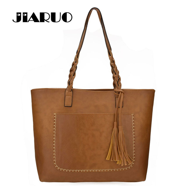 jiaruo brand tassel pendant design casual handbag women pu leather