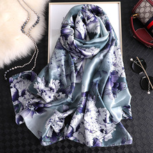 90x180cm Printed Floral Scarf Fashion Summer Silk Beach Shawls Wraps Lady Gradient Bandanas Female Hijabs Foulard Head Scarves