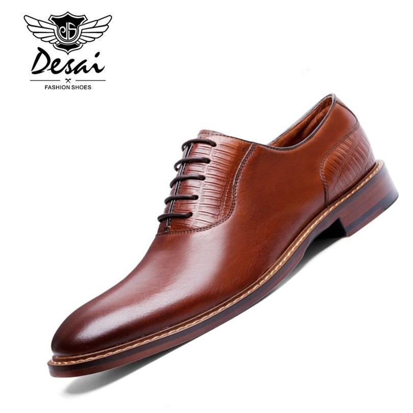 DESAI Brand Luxury Business Style Casual Men Dress Leather <font><b>Shoes</b></font> Genuine Leather <font><b>Oxford</b></font> <font><b>Shoes</b></font> For Men Wedding <font><b>Shoes</b></font>