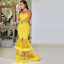 3c879c809 2018 Latest Fashion Yellow Charm Long Prom Bandage Dress With Off Shoulder  Design Gown Party Ladies