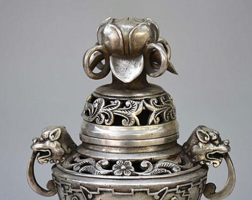 8 Chinese Buddhism Temple Silver Dragon Head Lotus Statue Incense Burner Censer8 Chinese Buddhism Temple Silver Dragon Head Lotus Statue Incense Burner Censer