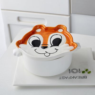 Bowls cute Squirre instant noodles bowl with cover Cartoon double ear ceramic soup bowl Creative Japanese style tableware