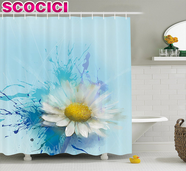 Watercolor Flower Home Decor Shower Curtain Oil Painting Chamomile Pattern  With Splash On Background Image Fabric