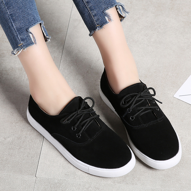 TKN 2018 winter flats oxford shoes for women leather suede sneakers lace up boat shoes women round toe flats moccasins 1376 3