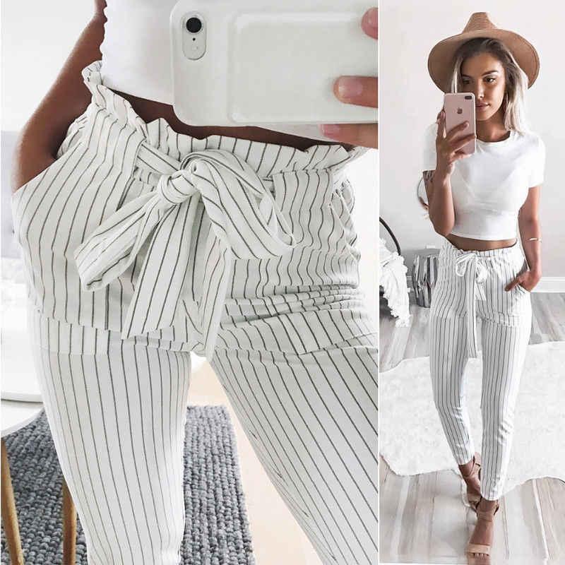 Damskie spodnie z wysokim stanem szyfonowe spodnie w pasie solidne luźne spodnie na co dzień