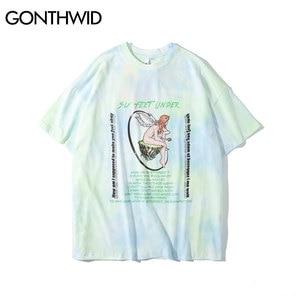 Image 2 - GONTHWID melek gül baskı batik Tee gömlek Streetwear yaz erkekler moda Hip Hop Casual gömlek Harajuku kısa kollu üstleri