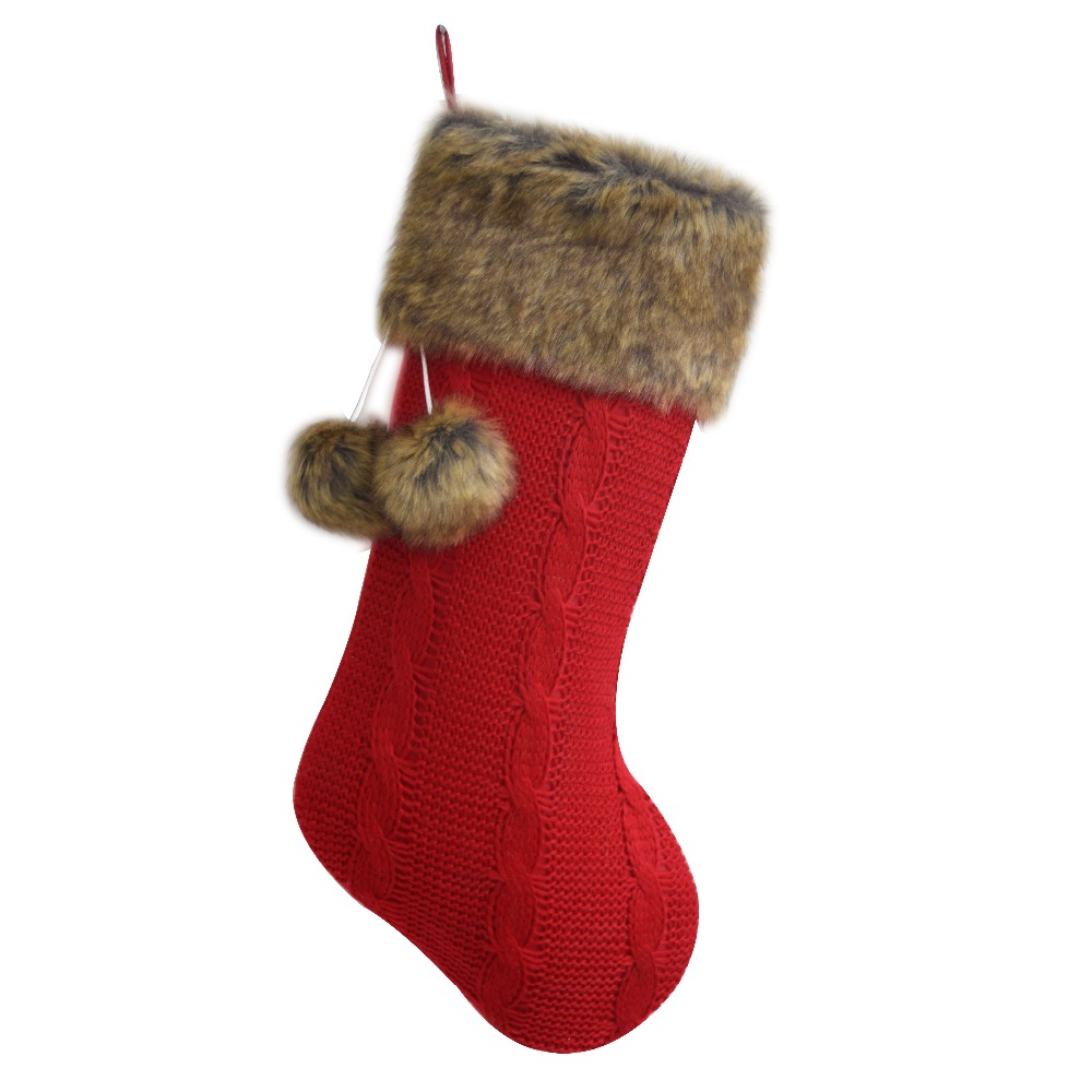 Cable Knit Christmas Stockings.Us 14 99 Free Shipping Cable Knit Christmas Gifts Socks Christmas Decoration Knitting With Faux Fur Cuff Christmas Stockings In Stockings Gift