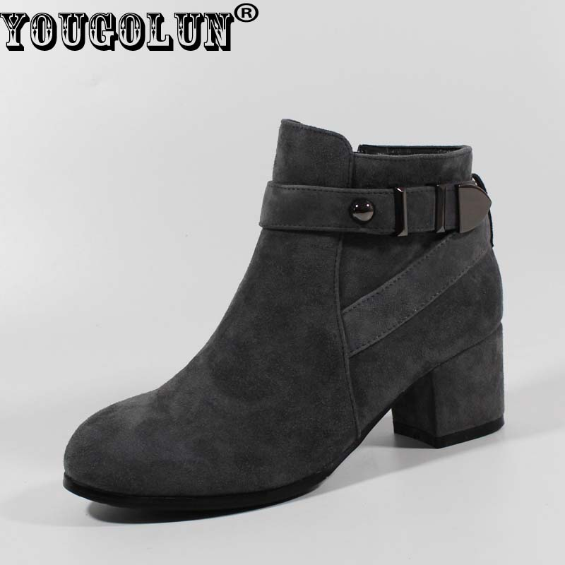 YOUGOLUN Ankle Boots Women Genuine Sheepskin Suede Autumn High Sqaure Heel 5.5cm Ladies Gray Black Buckle Shoes #Y-002 women black shoes sheepskin genuine leather women shoes suede pointed toe rivet solid color buckle ladies causal ankle boots