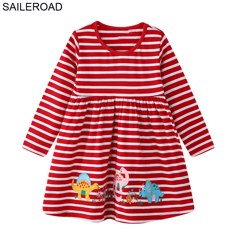 SAILEROAD Dress 2019 Girl Animal Elephant Embroidery Princess Girl Child Dress 7 Year Children Tops Dress Evestido de unicornio