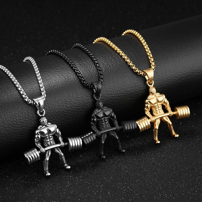Hercules weightlifting necklace men jewelry colar masculino sale aloadofball Choice Image
