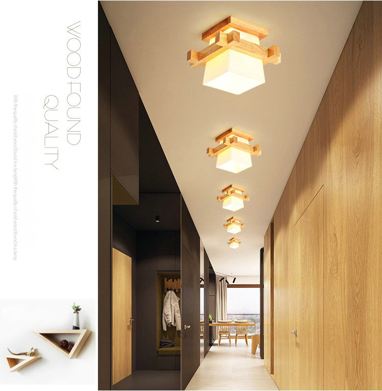 Lamp Shades | Glass Lamp Shades | Tatami Japanese Ceiling Light for Home Lighting E27 LED Ceiling Lamp Wood Base Hallways Porch Fixtures