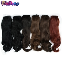 DinDong 18 Inch Black Brown Fish Line Wavy Hair Extensions Secret Invisible Wire Hair Pieces With