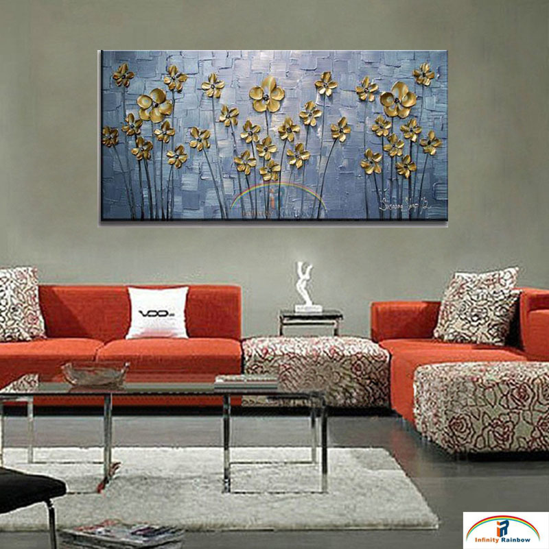 2016 Home Decor New Cuadros Golden Leaf Oil Painting Wall Art Handpainted Modern Floral On Canvas