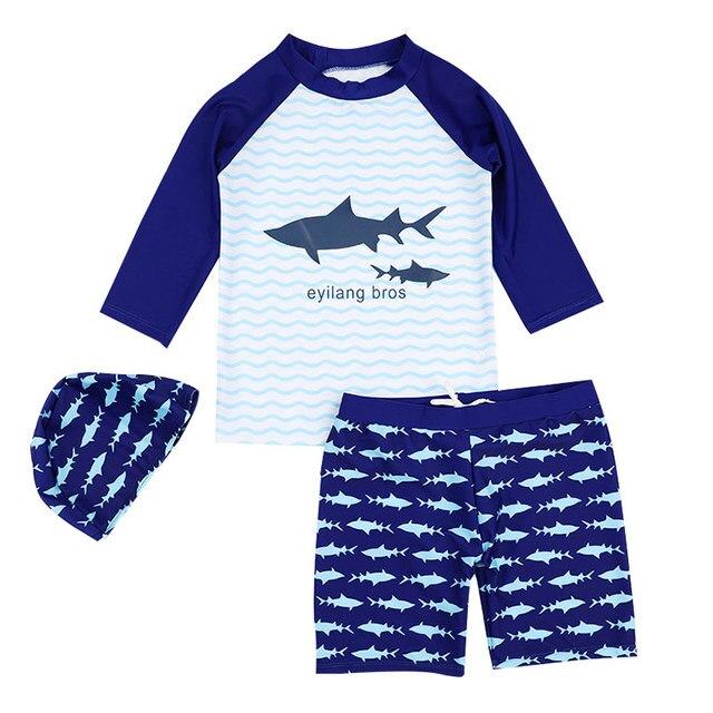 Новинка; летняя детская одежда; купальный костюм для мальчика для модная одежда для мальчиков, комплект из 3 предметов, детские купальники с солнцезащитным Кепки для детей ясельного возраста для девочек пляжное банная одежда
