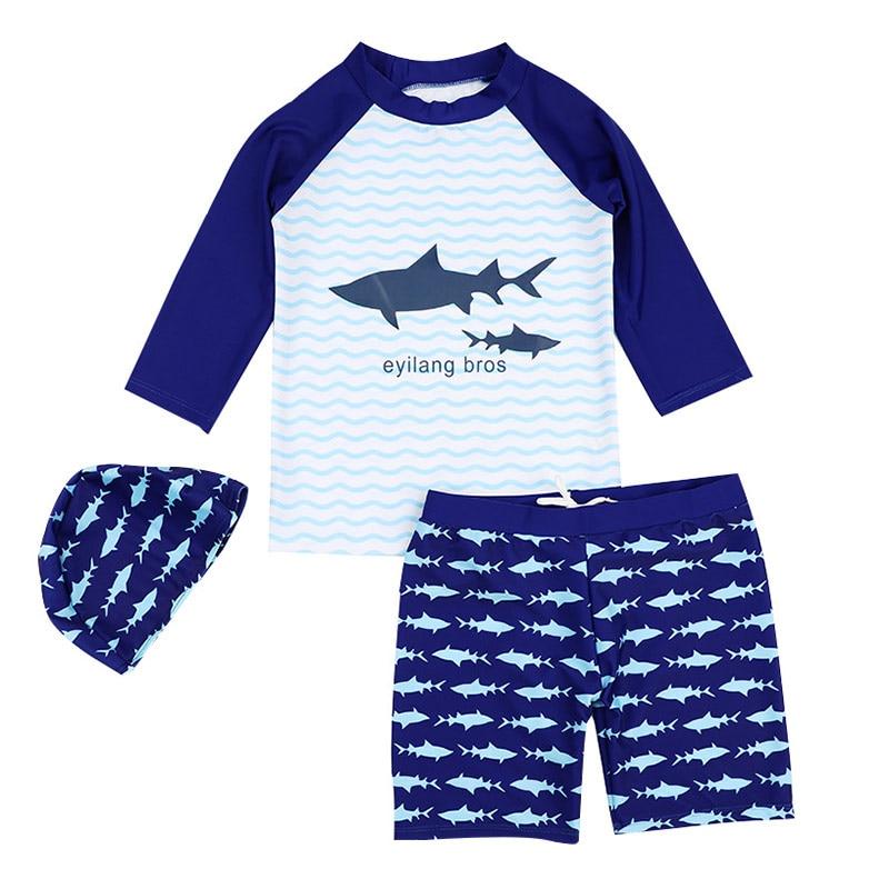 New Summer Kids Boy Swimwear For Boys Fashion Cartoon 3Pcs Children Swimsuits With Sun Cap Toddler Baby Girl Beach Bath Clothes